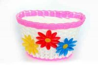 Basket Bicycle Front Plastic Child Flower Pink